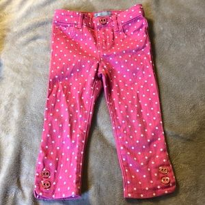 Baby GAP pink white polka dot skinny fit jeans 2T